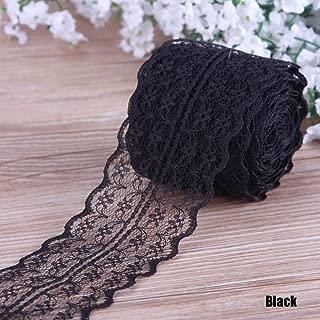 LEIZENG Beautiful 4.5CM 10 Yards Retro Embroidered Lace Trim Ribbon DIY Craft Sewing Decor Black