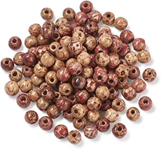 Pandahall 300pcs Drum Printed Wood Beads Spacers Mixed Color Large Hole Wooden Loose Beads for Jewelry Making DIY Bracelet Necklace Hair Crafts