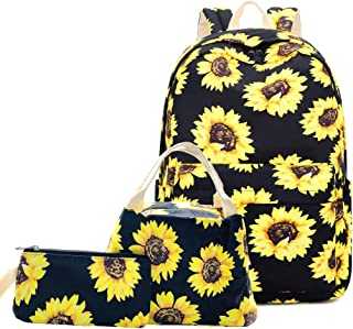 Lmeison Floral Backpack for Wemen Teen Girls, Sunflower College Bookbag with Lunch Bag&Pencil Case, Waterproof and Lightwe...