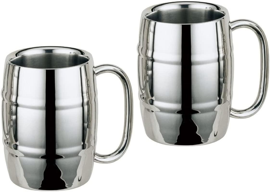 Stainless Steel Double Wall Coffee Mug Barrel Mug 15oz 2 Silver
