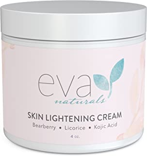 Skin Lightening Cream by Eva Naturals (4 oz) - Hyperpigmentation Cream for Dark Spots on Face and Neck - Helps Boost Collagen Production and Brighten Complexion - With Bearberry, Licorice, Kojic Acid