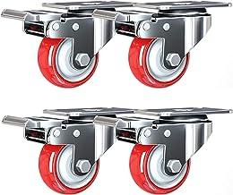 4 stks Meubelwielen, Moving Caster Wheels, Heavy Duty Swivel Wheels, Trolley Wheels in Polyurethaan, Castor Wheels met Pla...