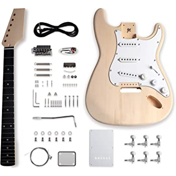 Metallor Electric Guitar DIY Kit ST Style Guitar Kit with Basswood Body Maple Neck Chrome Hardware Right Handed Build Your Own Guitar.