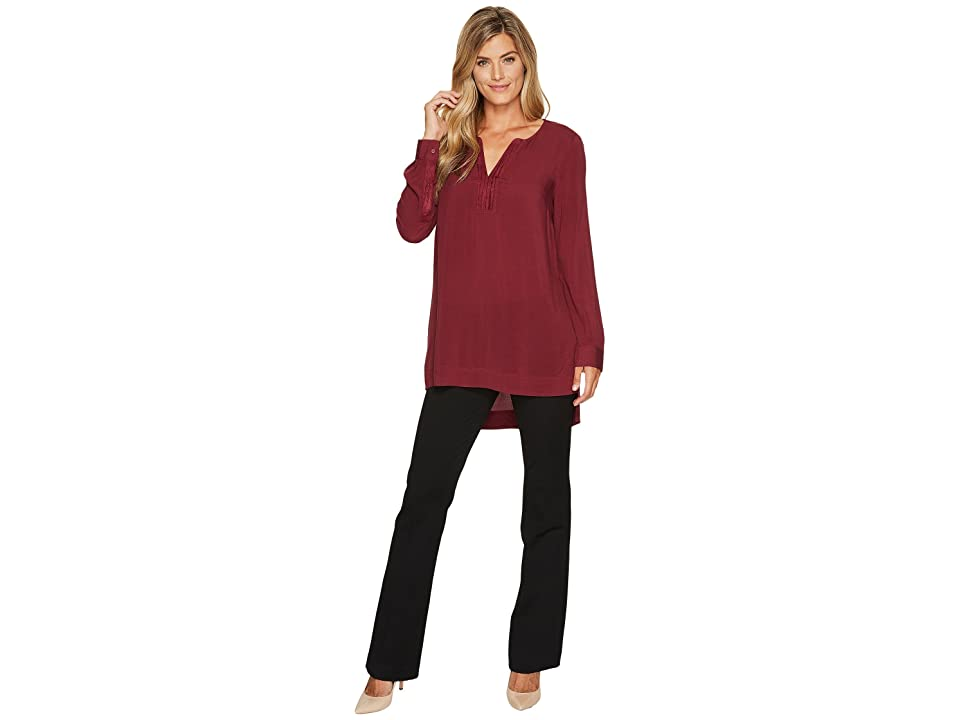 Tribal Long Sleeve Blouse w/ Suede Details (Cabernet) Women