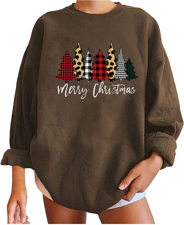 Sacramento Mall Women Christmas Elk Printed Sweatshirt Swea Lowest price challenge Sleeve Long Crewneck