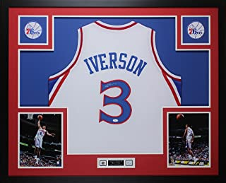 Allen Iverson Autographed White Philadelphia 76ers Jersey - Beautifully Matted and Framed - Hand Signed By Allen Iverson and Certified Authentic by JSA - Includes Certificate of Authenticity