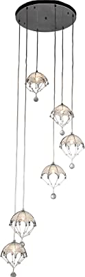 Home Accessories RL8065/6 ' Cnidaria II' Chrome and Crystal Cascading Chandelier, Silver