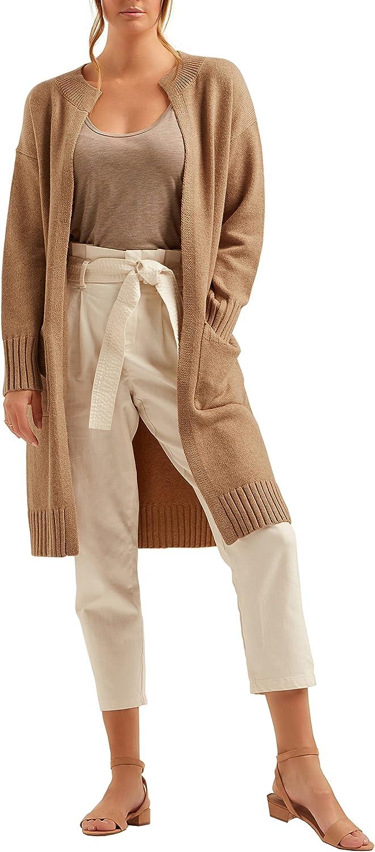 Autumn Essentials Women's Ribbed Collar Long Cardigan