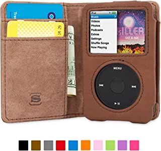 iPod Classic Case, Snugg Brown Leather Leather Flip Case [Card Slots] Executive Apple iPod Classic Wallet Case Cover and Stand - Legacy Series