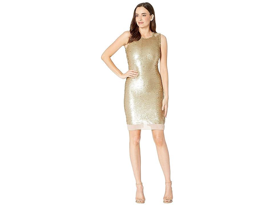 Calvin Klein Sheath Sequin Dress (Gold) Women