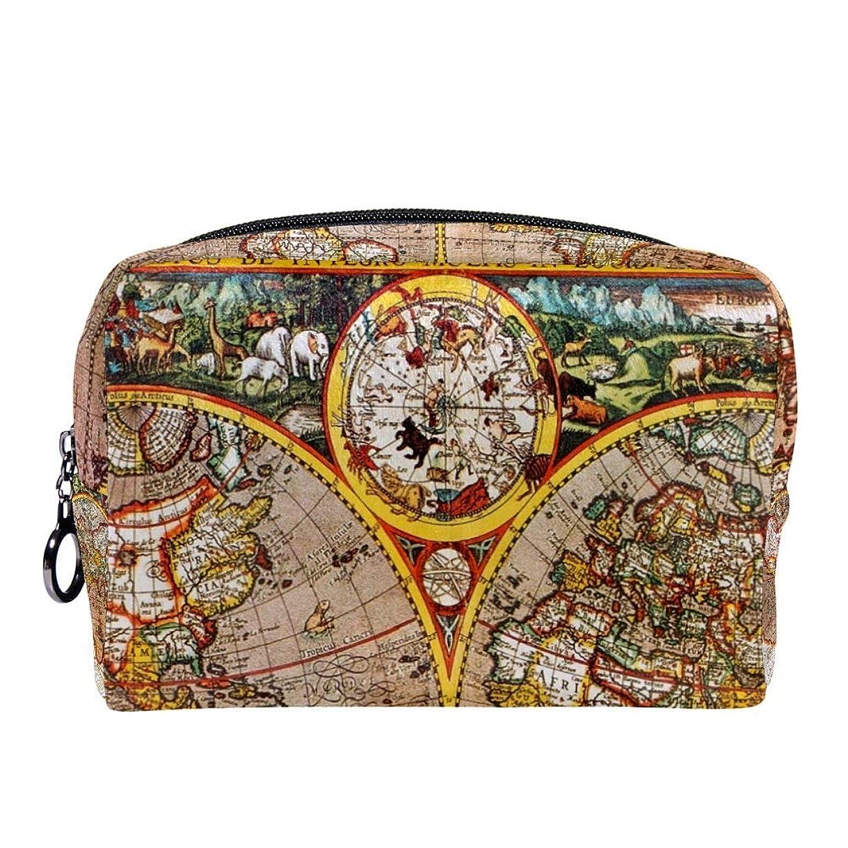 軽減する雑多なスリップシューズDragon Sword 化粧ポーチ 古い 復古 世界地図 コスメポーチ メイクポーチ コンパクト ふわふわ 化粧品収納 小物入れ 18x7x13cm 出張 旅行 プレゼント