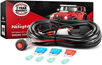 Nilight Off Road LED Light Bar Wiring Harness Kit 12V Relay On/Off Rocker Switch ATV Jeep Truck,2 years Warranty