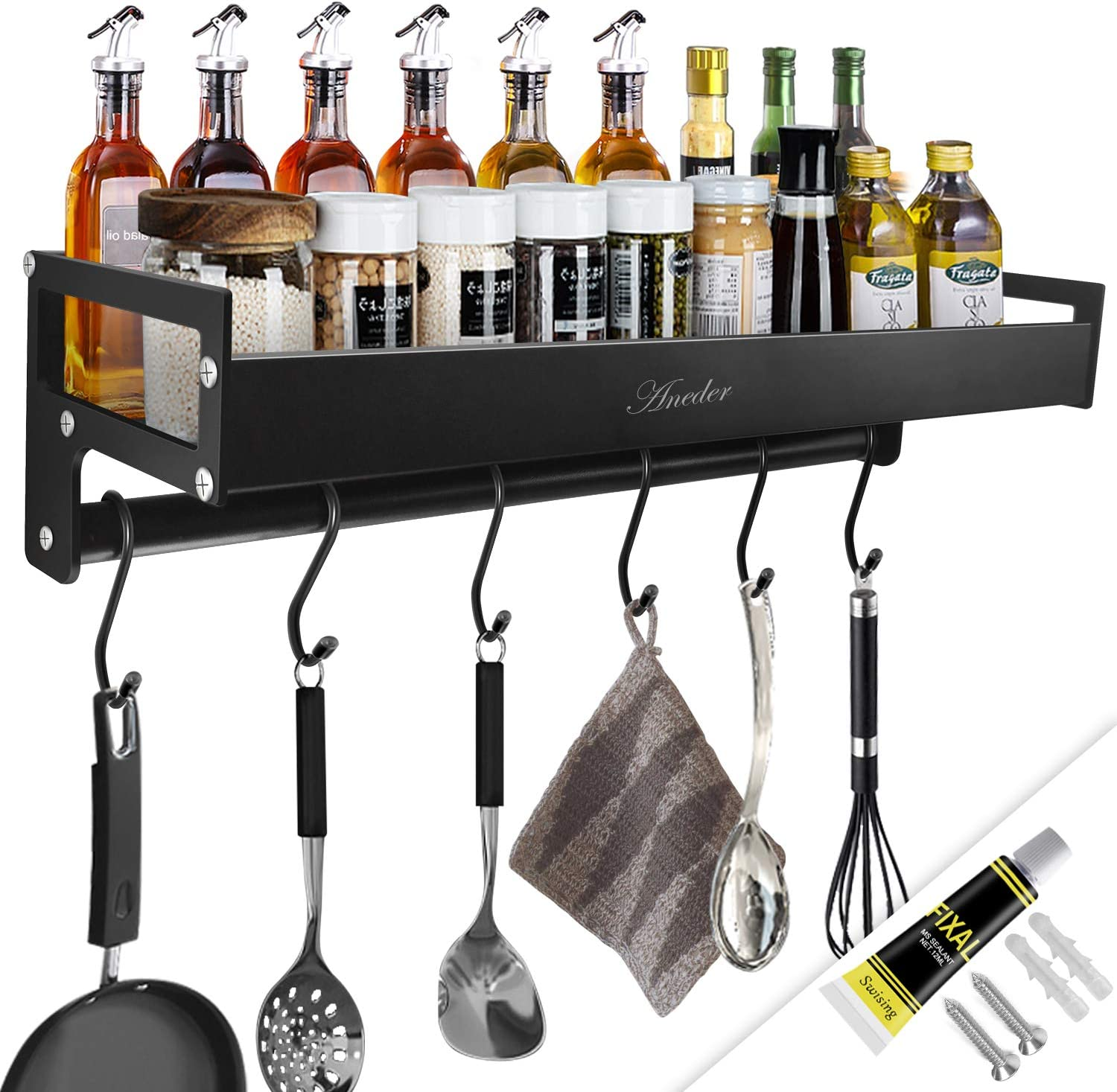 Aneder Kitchen Shelf Spice Rack Organizer With S Hooks Wall Mounted Holder Metal Floating Shelves With Towel Bar Adhesive Drill Installation For Home Bathroom Kitchen Amazon Co Uk Home Kitchen