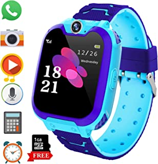 Kids Game Smart Watch Phone for Students, Girls Boys Touch Screen Smartwatch with MP3 Play SOS Camera Game Alarm Clock, Children's Gift Back to School (X6 Blue)