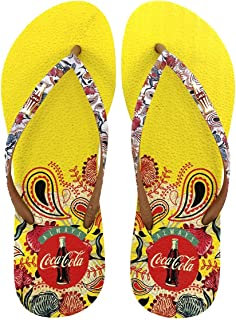 Chinelo De Dedo Feminino Coca Cola Pasley Floral Tiras Finas Estampa Tropical CC2893 Amarelo