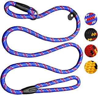 Coolrunner Durable Dog Slip Rope Leash, 5 FT Dog Training Leash, Strong Slip Lead, Standard Adjustable Pet Slipknot Nylon Leash for Small Medium Dogs(10-80 lb)