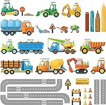 DECOWALL DW-1712 Bau Baustelle Transporte Autos Fahrzeuge Wandtattoo Wandsticker Wandaufkleber Wanddeko für Wohnzimmer Sch...