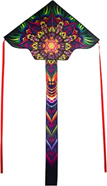 In the Breeze Mandala 45 Inch Fly-Hi Kite - Colorful Single Line Kite - Ripstop Fabric - Kite Line and Bag Included