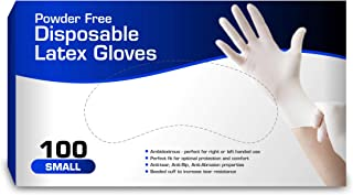 New Disposable Latex Gloves, Powder Free (100 Gloves Per Box) (Small)