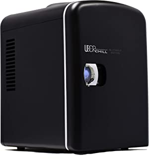 Uber Appliance UB-CH1 Mini Fridge 6 Can/4 Liter Capacity Portable Thermoelectric Cooler Warmer personal refrigerator for home, office, bedroom, dorm, car and outdoor - Matte Black - 110V AC 12V DC