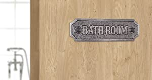 """Ziolte Cast Iron """"Bathroom Sign for Décor Farmhouse, Shelves, wall Decal, Business"""" Small Door Sign, Rustic Gate Plaque in Matt Lacquer, 4.5 X 1.5 inches; Includes Mounting Hardware"""
