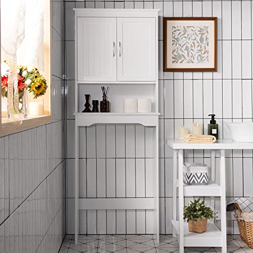 popular Giantex Over The Toilet Storage Cabinet Bathroom Organizer, Freestanding Space Saver with Adjustable Shelves, Sturdy Bottom Stabilizer Bar& discount Anti-toppling Device, Space-Saving Toilet online Rack online sale