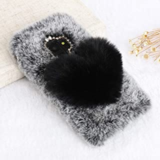 for Samsung Galaxy s7 Edge Case LAPOPNUT Girls Luxury Faux Fur Case Cute Soft Cover Fluffy Furry Love Heart Back Case with Bowknot Bling Diamond Protective Bumper Cover, Grey