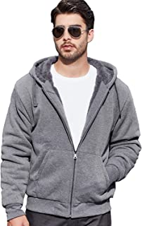 Men's Zip Up Fleece Hoodies Winter Heavyweight Sherpa Lined Thermal Jackets