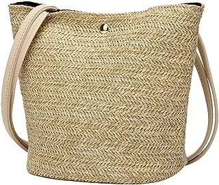 Womens Handbag Straw Woven Solid Color Shoulder Bags Bucket Bag Valentines Gift