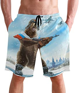 Beach Shorts, Funny Bear with Gun Printed Mens Trunks Swim Short Quick Dry with Pockets for Summer Surfing Boardshorts Out...
