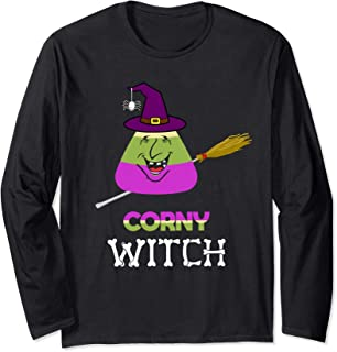 Corn Candy Witch Hat Funny Cartoon Spider Halloween Gifts Long Sleeve T-Shirt