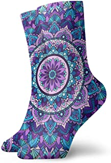 Hunter qiang, Calcetines para mujeres y hombres, sin costuras, diseño de mandala lila. Patrón sin costuras de Mandala Lila calcetines deportivos 30 cm