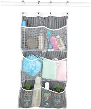 Evelots Quick-Dry Hanging 6 Pockets Shower Caddy