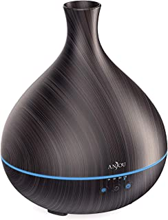Essential Oil Diffuser, Anjou 500ml BPA Free Cool Mist Humidifier Wood Grain Aromatherapy Diffuser with 7 Color Changing Night for 12hrs of Continuous Quiet Diffuse Aroma (Brown)
