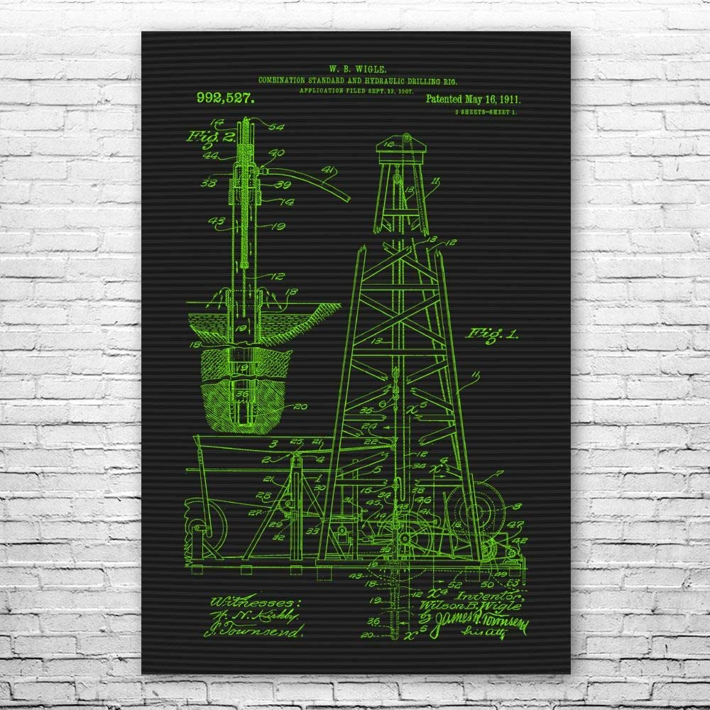 Patent Earth Oil Drilling Rig Roughnec Worker Store NEW before selling Poster Print