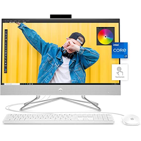 "HP 24 All-in-One PC, 11th Gen Intel i7-1165G7 Processor, 16 GB RAM, 512 GB SSD Storage, Full HD 23.8"" Touchscreen, Windows 10 Home, Remote Work Ready, Wireless Mouse and Keyboard (24-dp1280, 2020)"