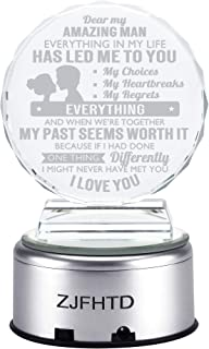 ZJFHTD 3D Laser Crystal Glass Personalized Custom Etched Engrave Gift Heart Decor to Daughter Wife Gift (Amazing Man)