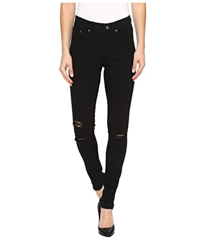 HUE Ripped Knee Denim Leggings (Black) Women