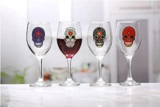 Circleware 76967 Sugar Wine Glasses with Black/White/Purple/Orange Skulls, Set of 4, 13 oz, Clear