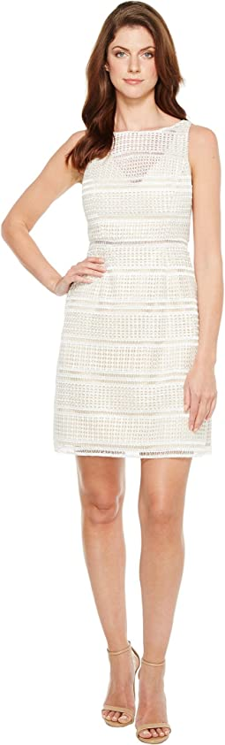 Adrianna Papell - Eyelet Lace A-Line Skirt Dress