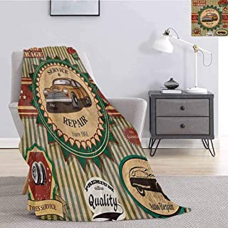 Luoiaax Retro Comfortable Large Blanket Collection of Vintage Retro Car Label in Faint Color Sixties Dated Irony Pop Art Microfiber Blanket Bed Sofa or Travel W91 x L60 Inch Green Red Cream