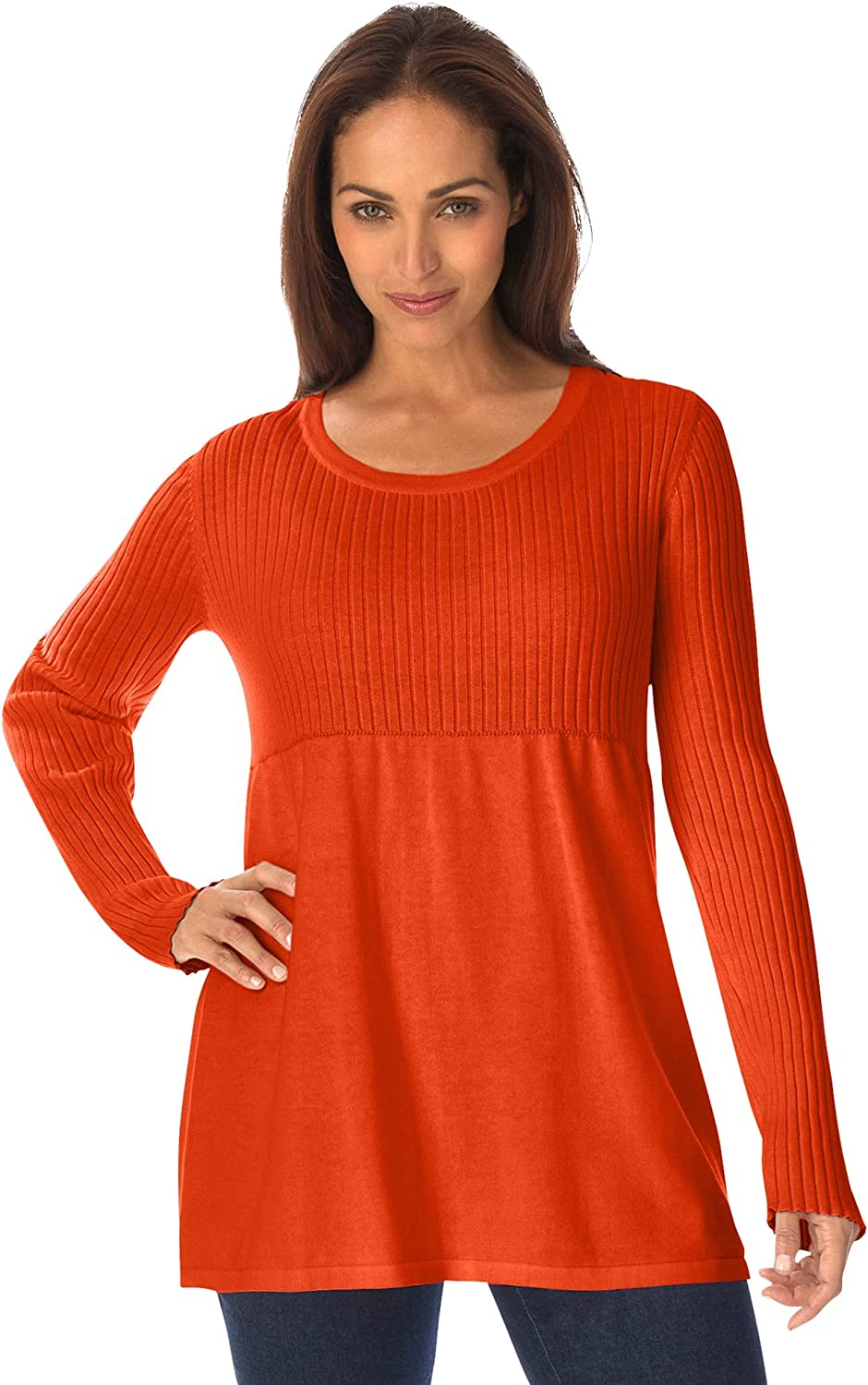 Jessica London Women's Plus Size Ribbed Baby Doll Tunic Sweater