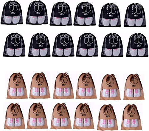 Travel Shoe Bags Portable Travel Shoe Tote Bags Packing Organizers for Men and Women Black 12 Pcs Beige 12 Pcs 24 Piece Jumbo Pack