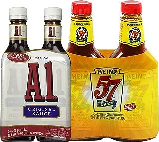 Steak Lovers Bundle: 2-pack of Heinz 57 Steak Sauce 20 Ounce and 2-pack of A1 Original Steak Sauce 15 Ounce