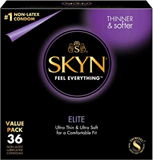 LifeStyles SKYN Elite Condoms, Synthhetic Polyisoprene Condoms, Non Latex, 36 Count  (Packaging may vary)