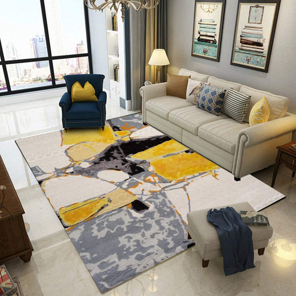 Rug Carpet Abstract Oil Painting Bedroom Yellow 公式 B Gray for 海外限定