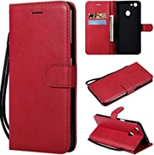 Ping.Feng Case Solid Color High Quality PU Leather Flip Wallet Bracket With Wristband Cover Design For OPPO F5/F5 Youth/ A73 Full Edge Protect (Color : Red)