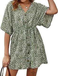 Byinns Women's Summer Floral Print Mini Dress V Neck Ruffles Short Sleeve Casual Button Down T-Shirt Loose Dress
