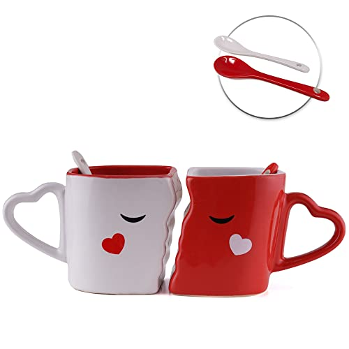 666005946e4a Set of 2 Cups of Breakfast Coffee or Tea - Accessory of Ceramic Kissing -  Spoon