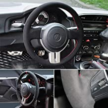 LSAUTO DIY Hand Sew Steering Wheel Cover Black Color Suede Genuine Leather Stitch On Wrap for Scion FR-S/Subaru BRZ/Toyota 86 Automotive Interior Accessories